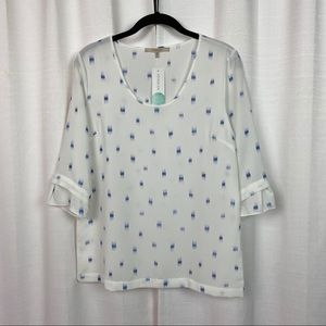 41 Hawthorn White&Blue Sybill Scoop Neck Blouse
